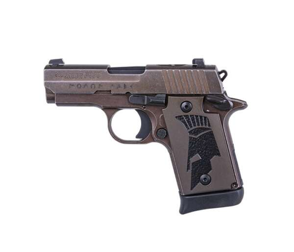 """The slide is engraved with the Greek phrase """"MOLON LABE"""" (""""Come and take them"""") while the custom grips feature the inlaid Spartan helmet"""